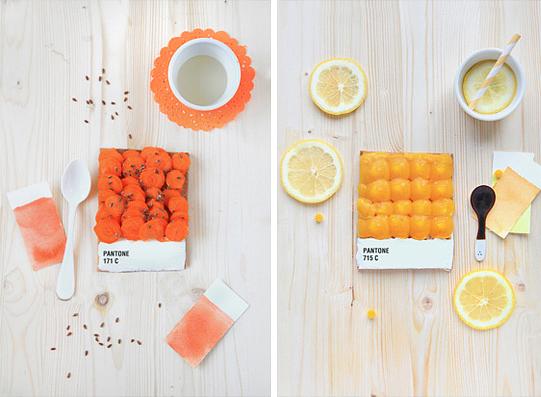 Emilie Griottes pantone naranja amarillo comida colores comestibles tarta